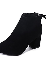 cheap -Women's Boots Chunky Heel Pointed Toe Bowknot Suede Booties / Ankle Boots Casual / Minimalism Fall & Winter Black / Brown / Wine