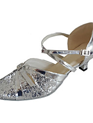 cheap -Women's Modern Shoes / Ballroom Shoes PU Heel Buckle Cuban Heel Customizable Dance Shoes Black / Silver
