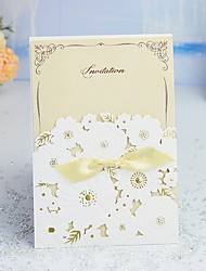 "cheap -Wrap & Pocket Wedding Invitations 30pcs - Invitation Cards / Thank You Cards / Invitation Sample Artistic Style / Modern Style / Floral Pearl Paper 5""×7 ¼"" (12.7*18.4cm) Satin Bow"