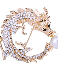 cheap -Men's Crystal Brooches Tennis Chain Dragons Creative Animal Luxury Classic Basic Rock Fashion Imitation Pearl Rhinestone Brooch Jewelry Gold Silver For Wedding Party Daily Work Club