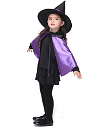 cheap -Witch Dress Outfits Halloween Props Masquerade Kid's Girls' Halloween Halloween Festival / Holiday Spandex Polyester / Polyamide Black Carnival Costumes