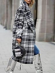 cheap -Women's Daily Fall & Winter Long Coat, Plaid Notch Lapel Long Sleeve Polyester Black