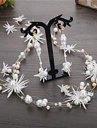 cheap -Alloy Hair Accessory / Earring with Imitation Pearl / Crystal / Rhinestone / Flower 3 Pieces Wedding Headpiece