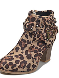 cheap -Women's Boots Print Shoes Chunky Heel Round Toe Rivet Suede Fall & Winter Black / Leopard / Gray