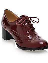 cheap -Women's Oxfords Fall Block Heel Round Toe Daily Patent Leather Black / Burgundy / Blue