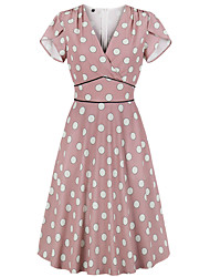 cheap -Vintage Dress Women's Costume Pink Vintage Cosplay Date Street Short Sleeve Midi A-Line