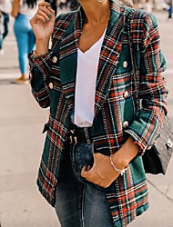 cheap -Women's Daily Spring Short Coat, Plaid Rolled collar Long Sleeve Polyester Green / Red / Slim
