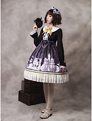 cheap -Artistic / Retro Classic Lolita French Dress Girls' Female Japanese Cosplay Costumes Dark Purple Pattern Other Bowknot Bishop Sleeve Long Sleeve Knee Length