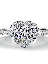 Недорогие -Жен. Кольцо 1шт Белый Медь Круглый Классический корейский Мода Повседневные Бижутерия Сердце Любовь Сердце
