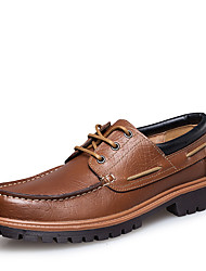 cheap -Men's Formal Shoes Nappa Leather Spring / Fall & Winter Vintage / British Boat Shoes Walking Shoes Non-slipping Black / Brown / Wedding / Party & Evening / Party & Evening / Leather Shoes