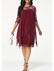 cheap -Sheath / Column Jewel Neck Knee Length Chiffon / Lace Half Sleeve Plus Size Mother of the Bride Dress with Lace 2020