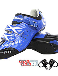 cheap -SIDEBIKE Adults' Cycling Shoes With Pedals & Cleats Road Bike Shoes Nylon Cushioning Cycling White / Black / Blue Men's Cycling Shoes / Synthetic Microfiber PU