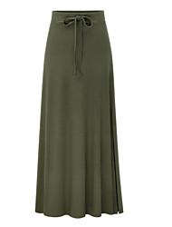 Недорогие -Жен. / Девочки Большие размеры Макси Облегающий силуэт Подол Однотонный Черный Серый Военно-зеленный XXXL XXL XXXXL