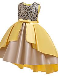 cheap -Kids Girls' Active Cute Leopard Color Block Sequins Bow Patchwork Short Sleeve Asymmetrical Dress Yellow