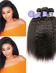 cheap -3 Bundles Peruvian Hair Yaki Straight Virgin Human Hair Unprocessed Human Hair Natural Color Hair Weaves / Hair Bulk Extension Bundle Hair 8-28 inch Natural Color Human Hair Weaves Classic Extention