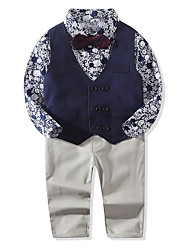 cheap -Baby Boys' Vintage Print Long Sleeve Regular Cotton Clothing Set Navy Blue / Toddler