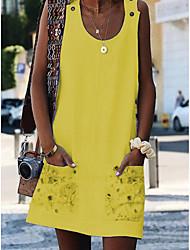 Недорогие -Жен. А-силуэт Платье - Без рукавов Цветочный принт С принтом U-образный вырез Классический Свободный силуэт Белый Желтый S M L XL XXL XXXL / Хлопок