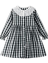 cheap -Toddler Girls' Sweet Black & White Check Patchwork Long Sleeve Midi Dress Black