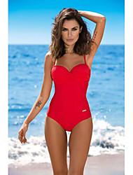 abordables -Femme Noir Bleu Roi Rouge Bikinis Maillots de Bain - Couleur Pleine S M L Noir