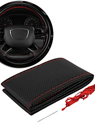 cheap -Steering wheel cover Leather Hand stitching For Seat Steering Wheel Covers  Polyester Knit Stretch Black / Red  All yearsCar