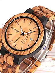 cheap -Men's Dress Watch Japanese Quartz Stylish Wood Wooden Analog - Digital Black Brown / One Year