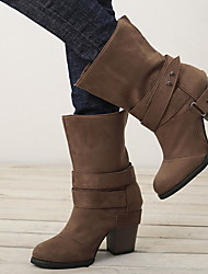 cheap -Women's Boots Chunky Heel Round Toe Canvas Mid-Calf Boots Winter Black / Brown / Gray