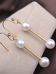 cheap -Women's Freshwater Pearl Drop Earrings Long Blessed Simple Dangling Classic Romantic Fashion Cute Pearl Silver Plated Earrings Jewelry Gold For Wedding Engagement Gift Daily Festival 1pc