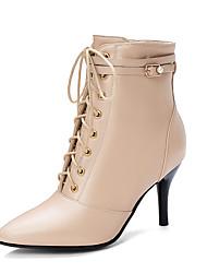 cheap -Women's Boots Stiletto Heel Pointed Toe PU Spring &  Fall / Fall & Winter Black / Wine / Beige