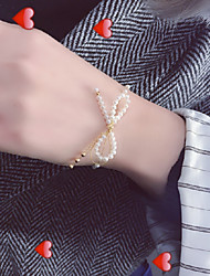 cheap -Women's Bead Bracelet Pearl Necklace Braided Butterfly Bowknot Sweet Elegant Pearl Gold Plated Earrings Jewelry Gold For Gift Daily Holiday Festival 1 set