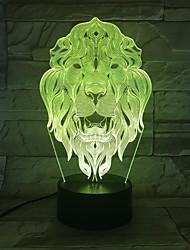 Недорогие -Изменение цвета ночной свет 7 лицо льва животное светодиодные ночные огни 3d настольная настольная лампа в качестве украшения дома