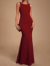 cheap -Mermaid / Trumpet Jewel Neck Floor Length Chiffon Elegant Prom Dress with Draping 2020