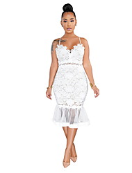 cheap -Women's White Black Dress Cocktail Party Sheath Solid Colored Strap Lace S M Slim