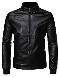 cheap -Men's Daily / Holiday / Going out Basic / Street chic Spring &  Fall Plus Size Regular Leather Jacket, Solid Colored Stand Long Sleeve PU / Polyester Black / Wine / Khaki