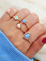 cheap -Women's Ring Set Multi Finger Ring 5pcs Gold Rhinestone Alloy Simple Vintage Korean Party Graduation Jewelry