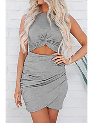 cheap -Women's Mini Black Gray Dress Basic Bodycon Sheath Solid Colored Crew Neck Layered Ruched S M
