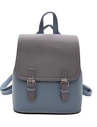 Недорогие -Большая вместимость PU Молнии рюкзак Контрастных цветов Повседневные Черный / Розовый / Синий
