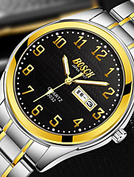 cheap -BOSCK Men's Dress Watch Japanese Quartz Stainless Steel Gold 30 m Water Resistant / Waterproof Calendar / date / day Luminous Analog Classic Casual World Map - Black Brown black White / Brown