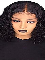 Недорогие -человеческие волосы Remy Лента спереди Парик Средняя часть стиль Бразильские волосы Глубокий курчавый Черный Парик 130% Плотность волос Жен. Средняя длина