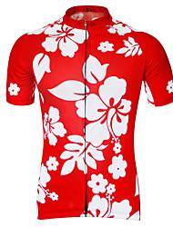 abordables -21Grams Homme Manches Courtes Maillot Velo Cyclisme Noir Vert Bleu Floral Botanique Cyclisme Maillot Hauts / Top VTT Vélo tout terrain Vélo Route Respirable Séchage rapide Anti-transpiration Des