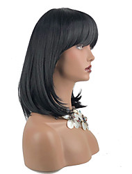 cheap -Synthetic Wig Straight Neat Bang Wig Medium Length Chestnut Brown Jet Black Kanekalon 16 inch Women's Synthetic Black Brown
