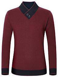 cheap -Men's Solid Colored Long Sleeve Cashmere Sweater Jumper, V Neck Winter Black / Red / Green US34 / UK34 / EU42 / US36 / UK36 / EU44 / US38 / UK38 / EU46