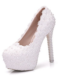 cheap -Women's Wedding Shoes Stiletto Heel Round Toe Pearl PU Summer White / Pink