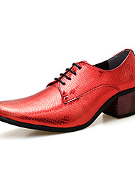 cheap -Men's Formal Shoes Leather Spring / Fall Business / British Oxfords Walking Shoes Non-slipping Black / Red / Wedding / Party & Evening / Party & Evening / Printed Oxfords / Dress Shoes
