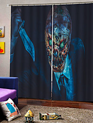 cheap -Happy Halloween Theme Frightening Decoration Curtains for Bar /Club /Cafe Blackout Costom Curtains for Home Decor