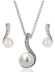 cheap -Women's Drop Earrings Pendant Necklace Classic Stylish Unique Design Pearl Platinum Plated Earrings Jewelry White For Daily Work 1 set