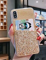 cheap -Case For Huawei Huawei P20 / Huawei P20 Pro / Huawei P20 lite Card Holder / Shockproof / Rhinestone Back Cover Glitter Shine TPU