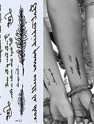 cheap -3pcs Temporary English Word Tattoo Stickers Black Letters Feather Body Art Tattoos Sticker Waterproof For Temporary Tattoos