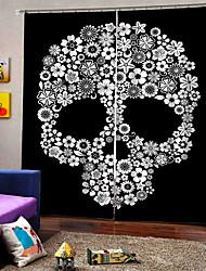 abordables -personnalité originale rideaux pour chambre / salon halloween thème thème fleur crâne rideaux occultants personnalisés
