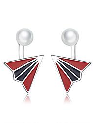cheap -Enamel Paper Plane Stud Earrings for Women Childhood Memory Floding Airplane 925 Sterling Silver Fashion Jewelry