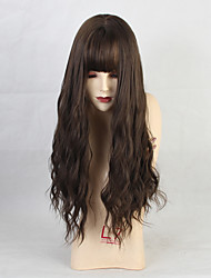 cheap -Costume Accessories Synthetic Wig Bangs Straight kinky Straight Neat Bang Wig Long Brown Synthetic Hair 26 inch Women's Anime Party Synthetic Black Brown